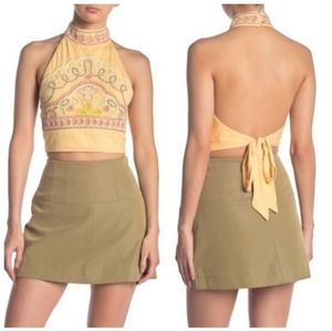 FREE PEOPLE Backless Embroidered Goa Tank Nectar